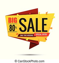 Sale text on red tag banner set 007