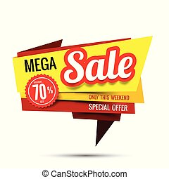 Sale text on red tag banner set 008