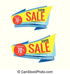 Sale text on red tag banner set 009