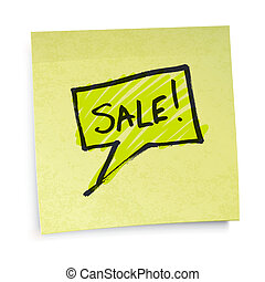 Sale text on yellow sticky paper. Vector illustration, EPS10.