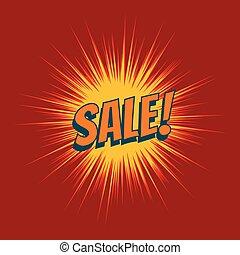 Sale text pop art red background