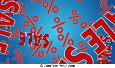 """Sale - Text """"SALE"""" and percent signs falling down. Discount..."""