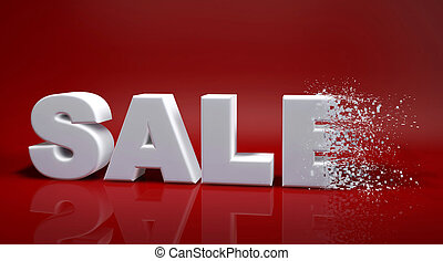 Sale text - 3d text sale on a red background