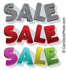 Sale text vector 3d