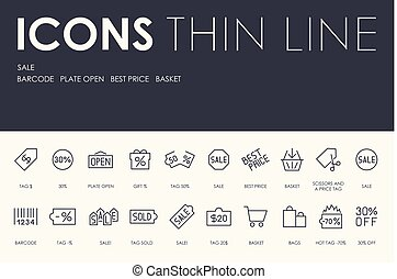 SALE Thin Line Icons - Set of SALE Thin Line Vector Icons...