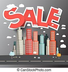 Sale Title above City Vector