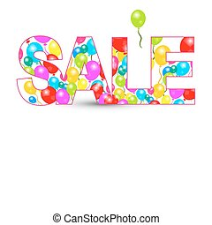 Sale Title with Colorful Balloons Isolated on White Background