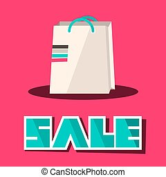 Sale Title with Retro Paper Shopping Bag on Pink Background