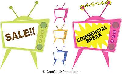 Vector illustration of television displaying sale advertisements.