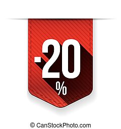 Sale twenty percent off banner red ribon