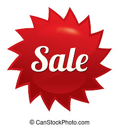 Sale twist tag. Red round star sticker.