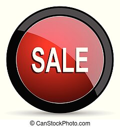 Sale vector icon. Modern design red and black glossy web and mobile applications button in eps 10
