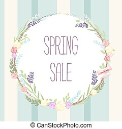 sale vector illustration banner. Circle label with leaves, flowe