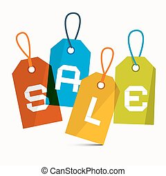 Sale Vector Labels Isolated on White Background