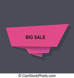Sale vector origami concept banner template