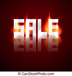 Sale Vector Title in Flames, Fire
