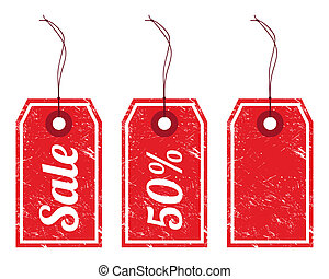 Sale vintage price tags - Retro grunge red pirce tags -...