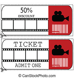 Sale voucher and entrance ticket for cinema movie