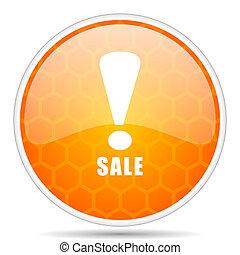 Sale web icon. Round orange glossy internet button for webdesign.