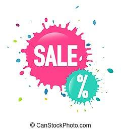 Sale Web Icon - Vector Discount Splashes Labels