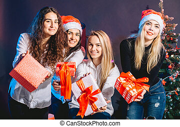 sale, winter holidays, christmas and people concept