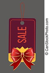 Sale with Discount, Caption on Tag with Red Bow