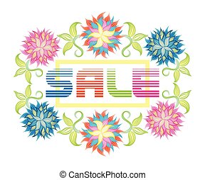 sale with flowers - Sale background with beautiful colorful...