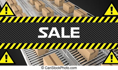 Sale with parcels on conveyor belts