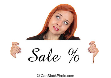 Sale. Woman holding up banner
