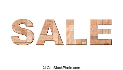 sale, wooden parquet letters isolated on white