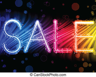 Sale Word Abstract Colorful Waves on Black Background