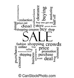 Sale Word Cloud Concept in black and white