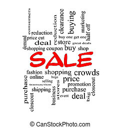 Sale Word Cloud Concept in red caps