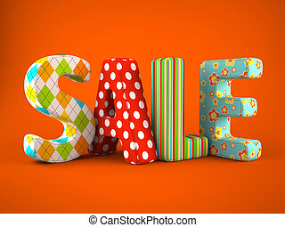 Sale word colorful fabric on grey background