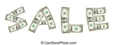 Sale word from dollar bill