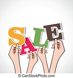 sale word in hand