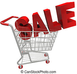 Sale Word in Shopping Cart - The word Savings in red letters...