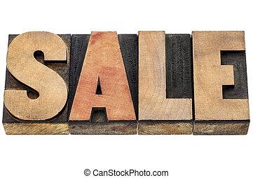 sale word in wood type