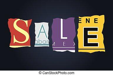 Sale word on broken car license plates, vector