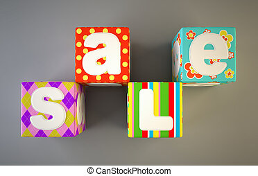 Sale word on colorful fabric cubes 2