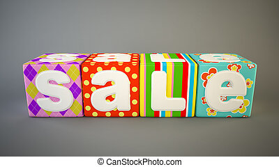 Sale word on colorful fabric cubes 5