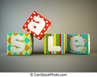 Sale word on colorful fabric cubes