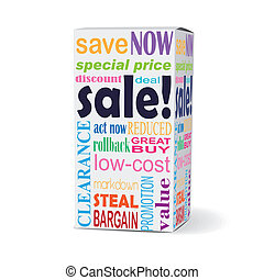 sale word on product box