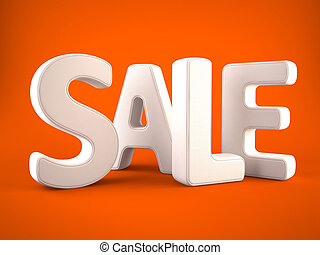 Sale word white on orange background