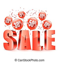 Sale Word with Balloons - Sale advertisment and red balloons...
