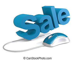 Sale word with blue mouse