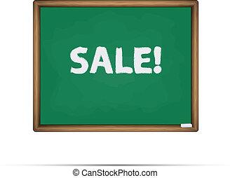 Sale written on a chalkboard