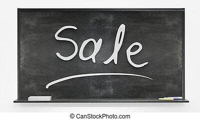 'Sale' written on blackboard