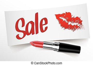 Sale written on note by lipstick with kiss