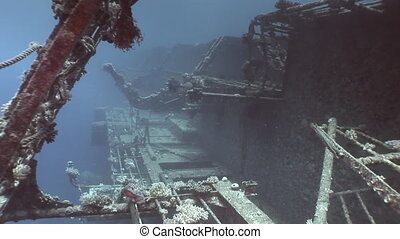 Salem Express shipwrecks under blue water in the Red Sea in...